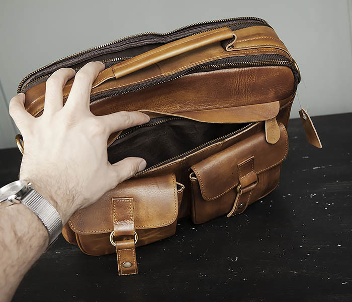BAG469-2 Мужская винтажная сумка с ремнем через плечо фото 10