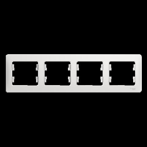 Рамка на 4 поста, горизонтальная. Цвет Белый. Schneider Electric Glossa. GSL000104