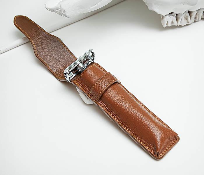 RAZ502-2 Чехол «PARKER» из натуральной кожи для опасной бритвы (коричневый) фото 07