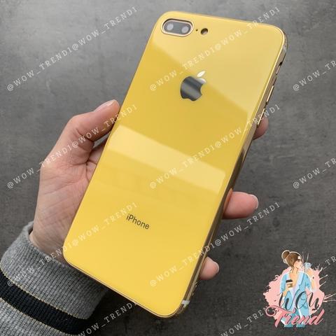 Чехол iPhone 7/8 Plus Glass Silicone Case Logo /yellow/