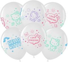 МЛ 12''/30см, Hello Kitty, С Днем Рождения!, Белый (200)/Прозрачный (600), кристалл, 4 ст, / 25 шт. /