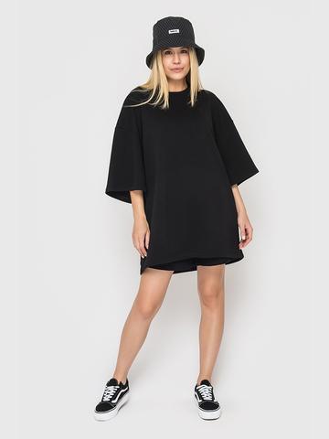 Платье-футболка черная из трехнитки YOS