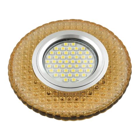 DLS-L135 GU5.3 GLASSY/GOLD Светильник декоративный встраиваемый, серия Luciole. Без лампы, цоколь GU5.3. Доп. светодиодная подсветка 3Вт. Стекло. Зеркальный/светло-желтый. ТМ Fametto