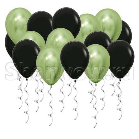 Воздушные шары под потолок Лайм хром и черный