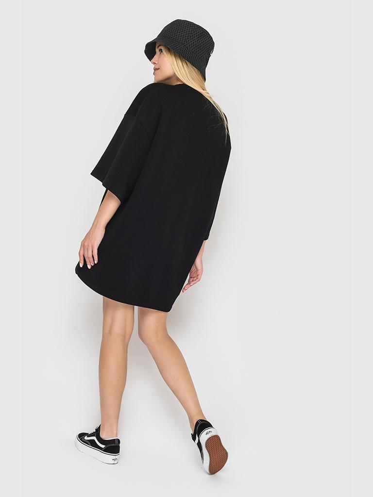 Платье-футболка черная из трехнитки YOS от украинского бренда Your Own Style