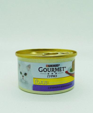 Gourmet Gold консервы для кошек нежные биточки с ягненком и фасолью 85г