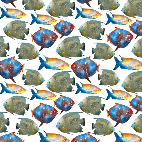 Акварельные тропические рыбы