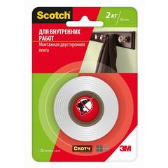 Клейкая лента двусторонняя монтажная для внутренних работ 3M Scotch на вспененной основе 19 мм x 1.5 м