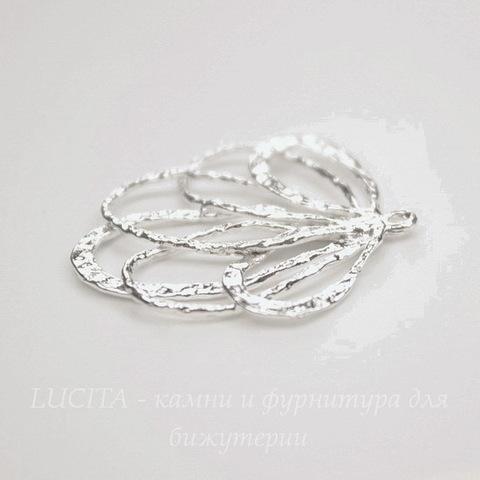 """Подвеска """"Ажурная""""  (цвет -  серебро) 28х25,5 мм"""