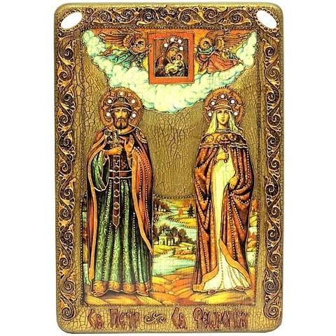 Инкрустированная рукописная икона Петр и Февронья 42х29см на натуральном дереве в подарочной коробке