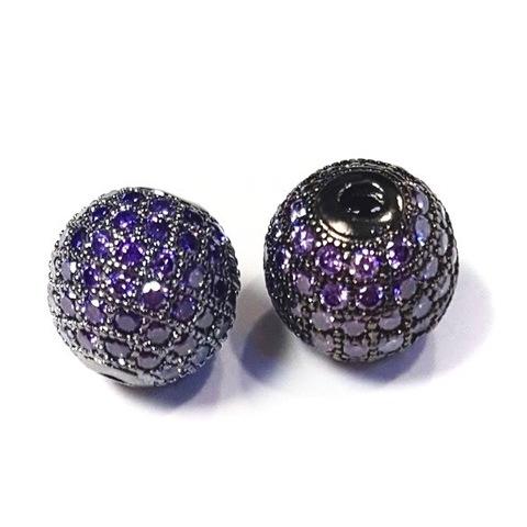 Бусина шар с фиолетовыми цирконами 10 мм цвет черный