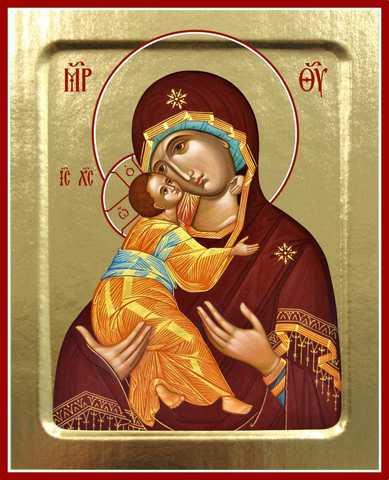 Владимирская икона Божией Матери, на дереве, 125х160 мм