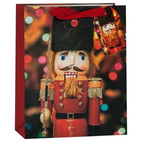 Пакет подарочный, Щелкунчик, Красный, с блестками, 32*26*13 см