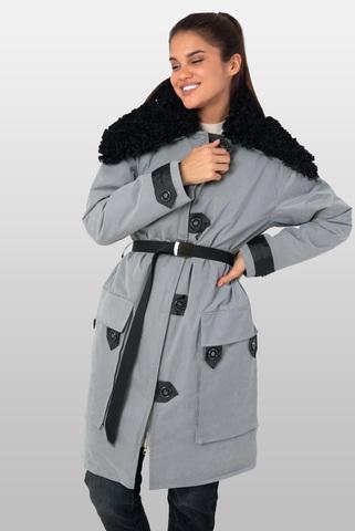 Куртка парка с капюшоном из эко-меха (искусственного меха)