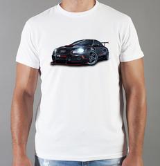 Футболка с принтом Ауди (Audi) белая 008