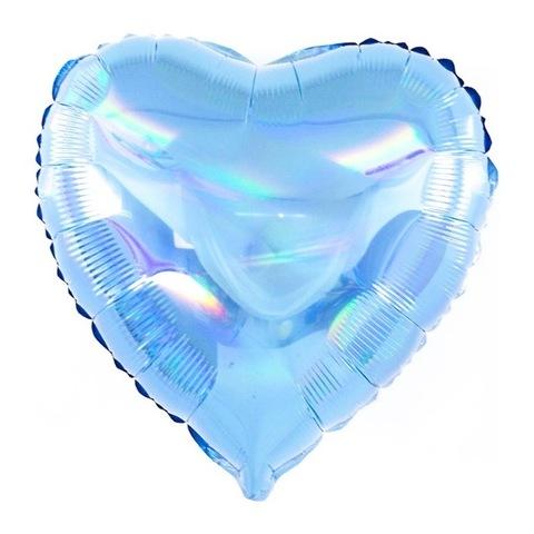 Воздушный шар сердце голубое перламутровое, 45 см