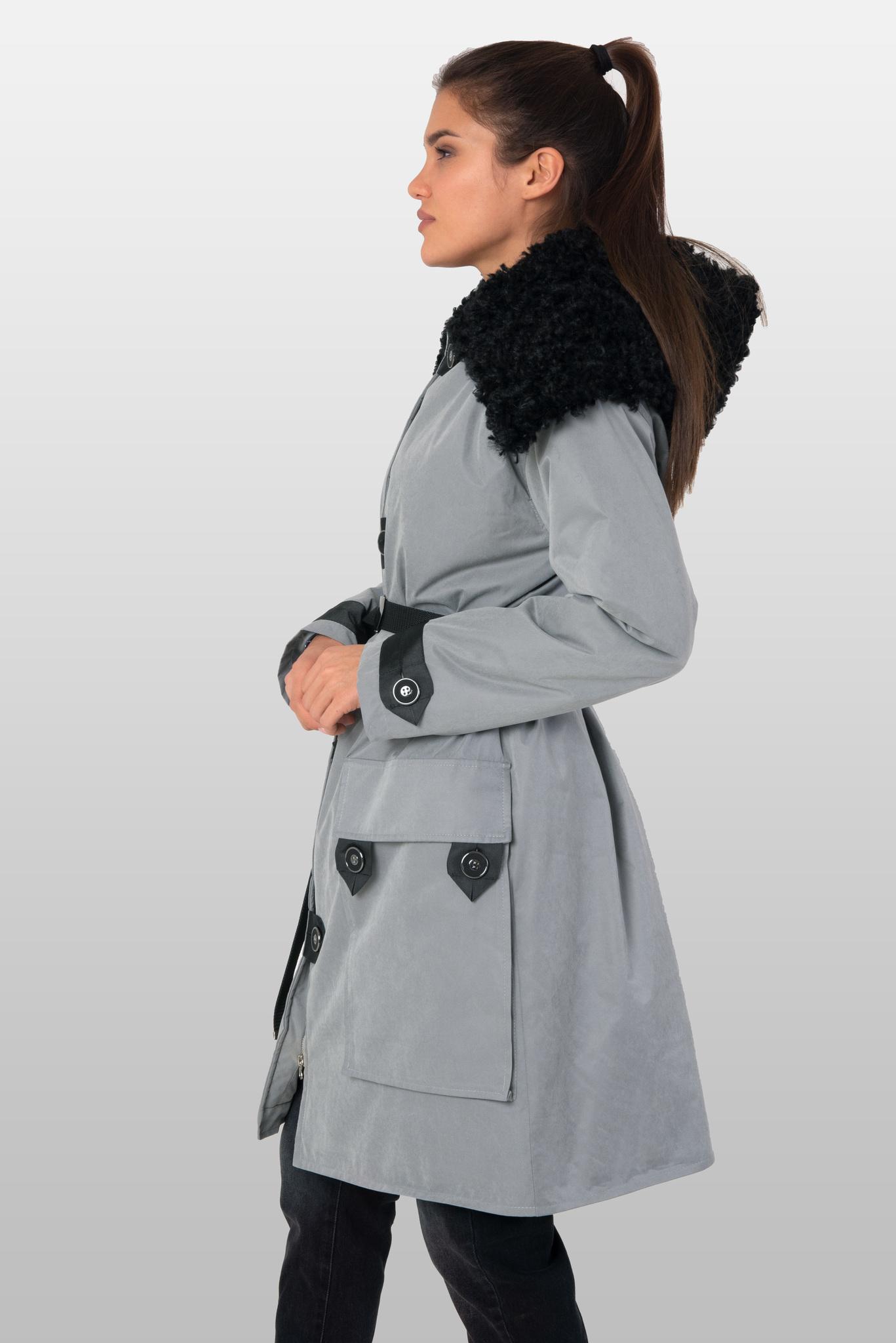 Куртка парка с чёрным капюшоном из эко-меха (искусственного меха)