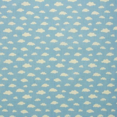 Ткань хлопковая белые облачка на голубом, отрез 50*80 см