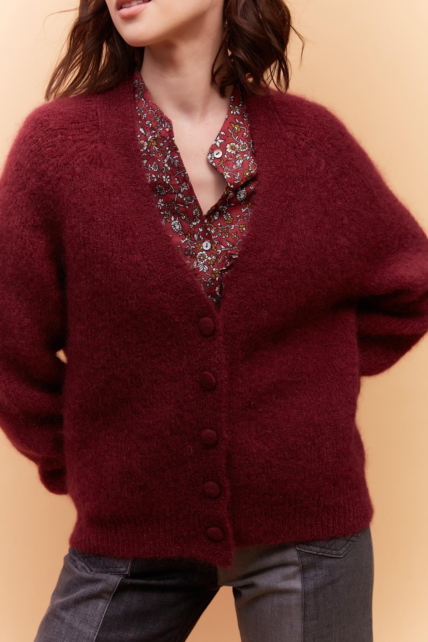 LAELIA - Мохеровый кардиган с V-образным вырезом