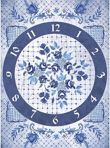 Рисовая бумага для декупажа Гжель: часы, А3