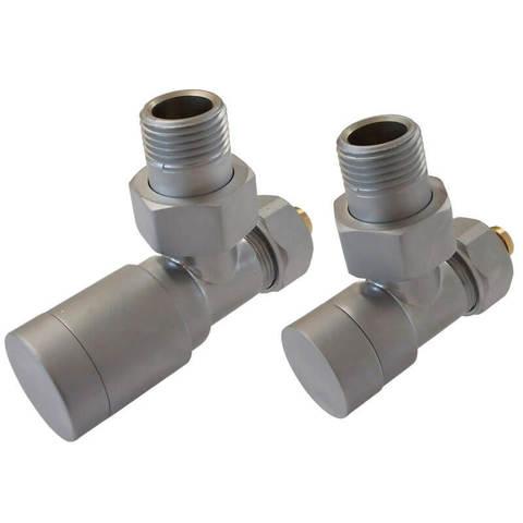 Комплект клапанов с ручной регулировкой Форма угловая Элегант Сатин. Для стали GZ 1/2 x GW 1/2