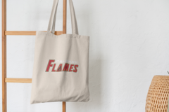 Сумка-шоппер с принтом НХЛ Калгари Флэймз (NHL Calgary Flames) бежевая 004