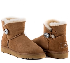 UGG Bailey Button Mini Bling Chestnut