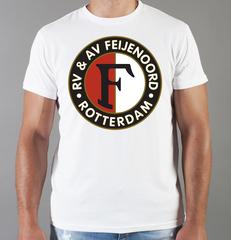 Футболка с принтом FC Feyenoord  (ФК Фейеноорд) белая 002