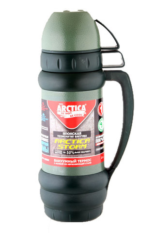 Термос Арктика (1,8 литра) с узким горлом, зеленый, эмаль