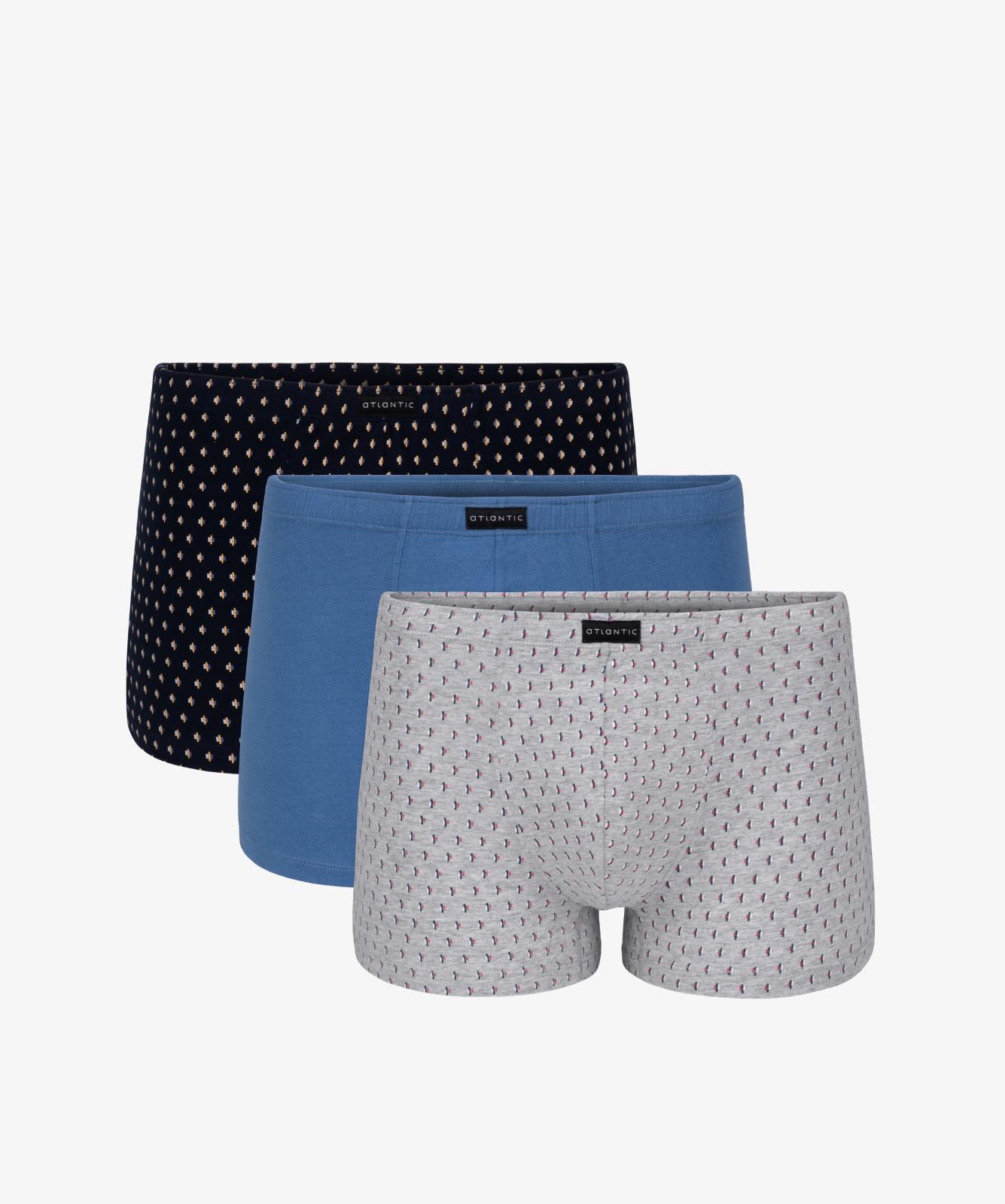 Мужские трусы шорты Atlantic, набор из 3 шт., хлопок, темно-синие + деним + серый меланж, 3MH-016