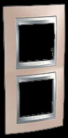 Рамка на 2 поста, вертикальная. Цвет Оникс-алюминий. Schneider electric Unica Top. MGU66.004V.096
