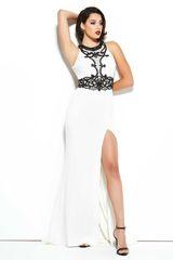 Mac Duggal 4887 Белое свадебное платье с разрезом на ноге, длинное,лиф украшен черными камнями