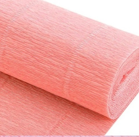 Бумага гофрированная, цвет 948 светло-персиковый, 140г, 50х250 см, Cartotecnica Rossi (Италия)