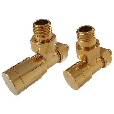 Комплект клапанов с ручной регулировкой Форма угловая Элегант Золото. Для меди GZ 1/2 х 15х1