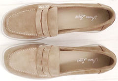 Женские замшевые туфли лоферы бежевые Anna Lucci 2706-040 S Beige.