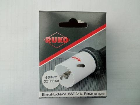 Коронка биметаллическая Ruko Bi-Metall HSSE-Co8 6,35tpi(4мм) 68мм L=38мм 126068