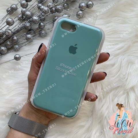 Чехол iPhone 7/8 Silicone Case /sea blue/ бирюза 1:1