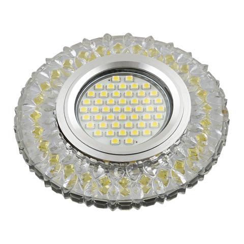 DLS-L138 GU5.3 GLASSY/GOLD Светильник декоративный встраиваемый, серия Luciole. Без лампы, GU5.3. Доп. светодиодная подсветка 3Вт. Стекло. Зеркальный/прозрачный+светло-желтый. ТМ Fametto