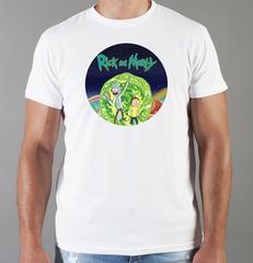 Футболка с принтом мультфильма Рик и Морти (Rick and Morty) белая 0013