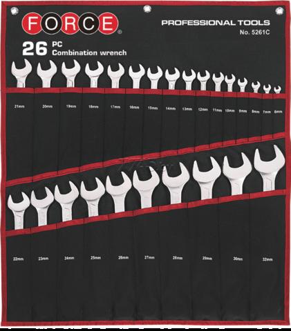 Набор комбинированных гаечных ключей 26 предметов FORCE 5261C