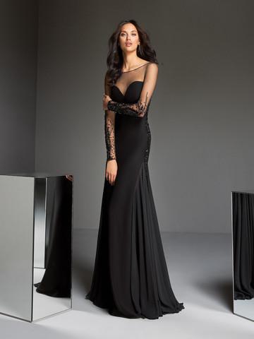 Вечернее платье классическое черное с длинными рукавами иллюзии