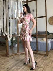 Марта. Літнє плаття на запах з воланами. Рожеві квіти