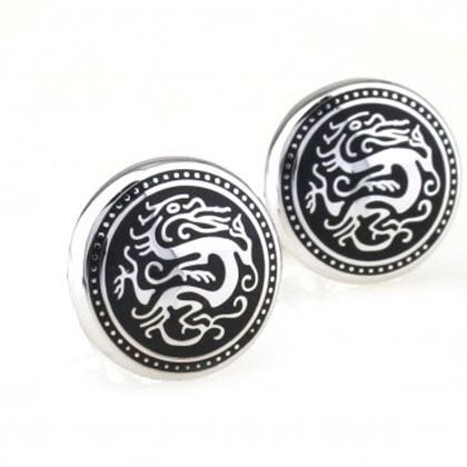 Мужские круглые запонки с драконами из нержавеющей ювелирной стали SPIKES cl-117