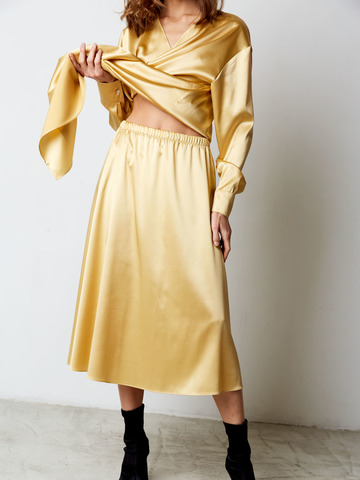 Юбка из шелка желтый
