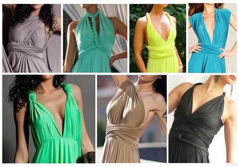 Длиннное вечернее платье-трансформер, зеленое 1