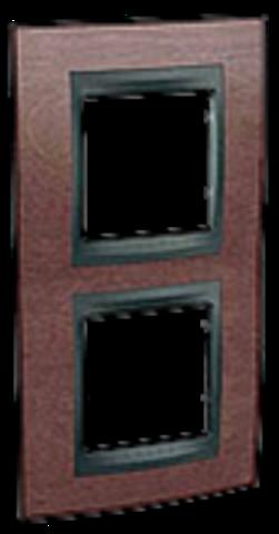 Рамка на 2 поста, вертикальная. Цвет Табачное дерево-графит. Schneider electric Unica Top. MGU66.004V.2M4