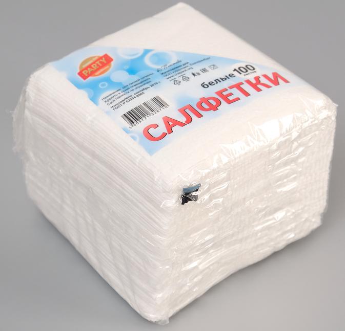 Салфетка белая, 24*24 ,100 листов