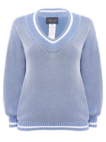Женский джемпер светло-голубого цвета из хлопка - фото 1