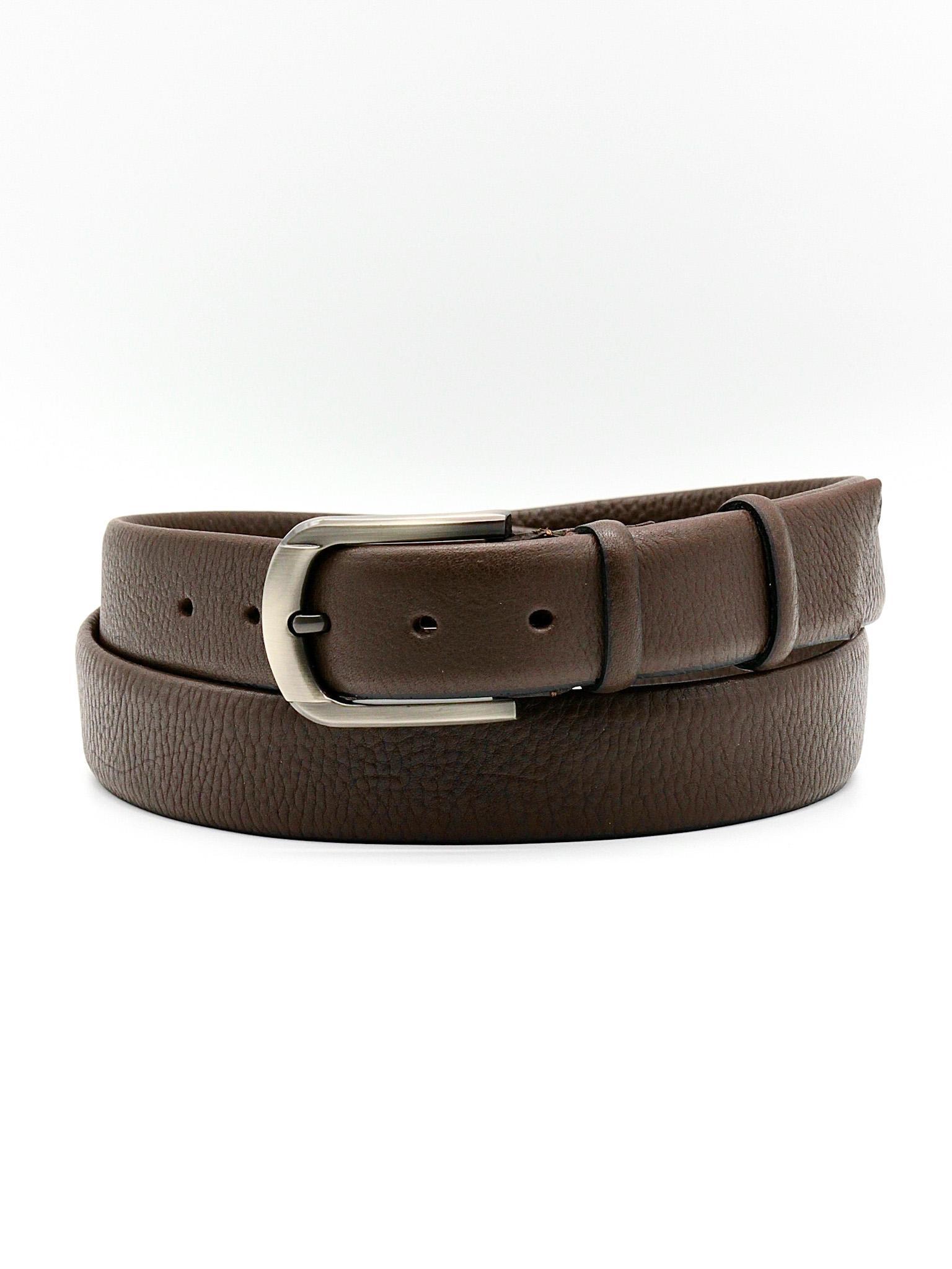 Фото мужской кожаный ремень для брюк 35 мм тёмно-коричневый из натуральной кожи Doublecity RC35-42-01