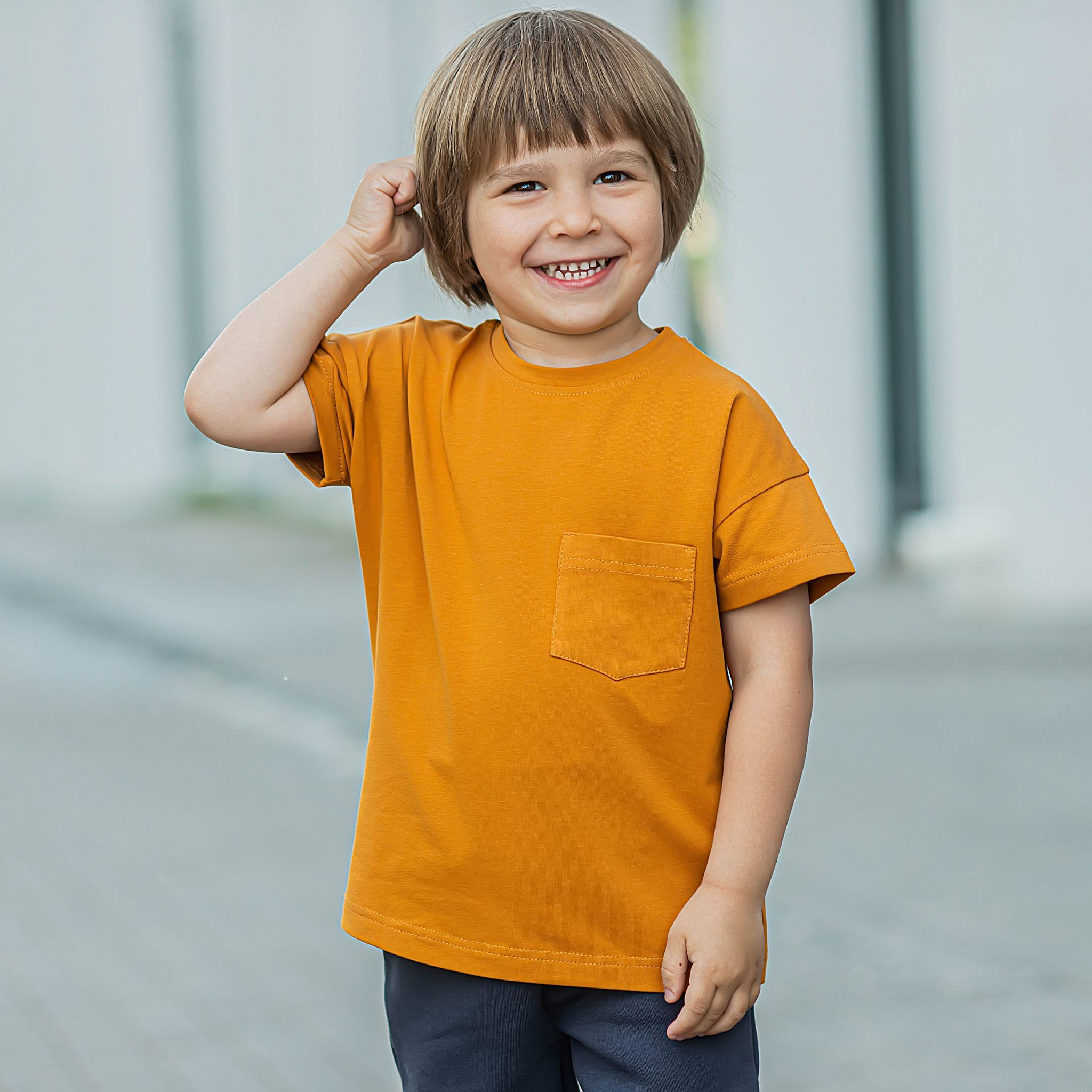T-shirt with pocket - Amber Yellow